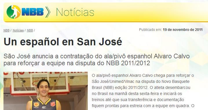 Así fue la llegada de Álvaro Calvo a Brasil en la web de la NBB